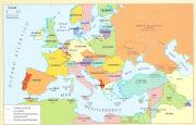 mapa de Europa despues de la segunda guerra mundial. (europa )