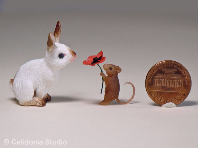 ooak miniature rabbit and mouse