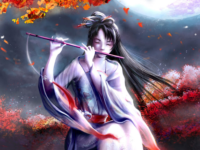 Beautiful Japanese Girl With Flute Fantasy Artwork Digital Art CG HD Quality Anime Wallpaper