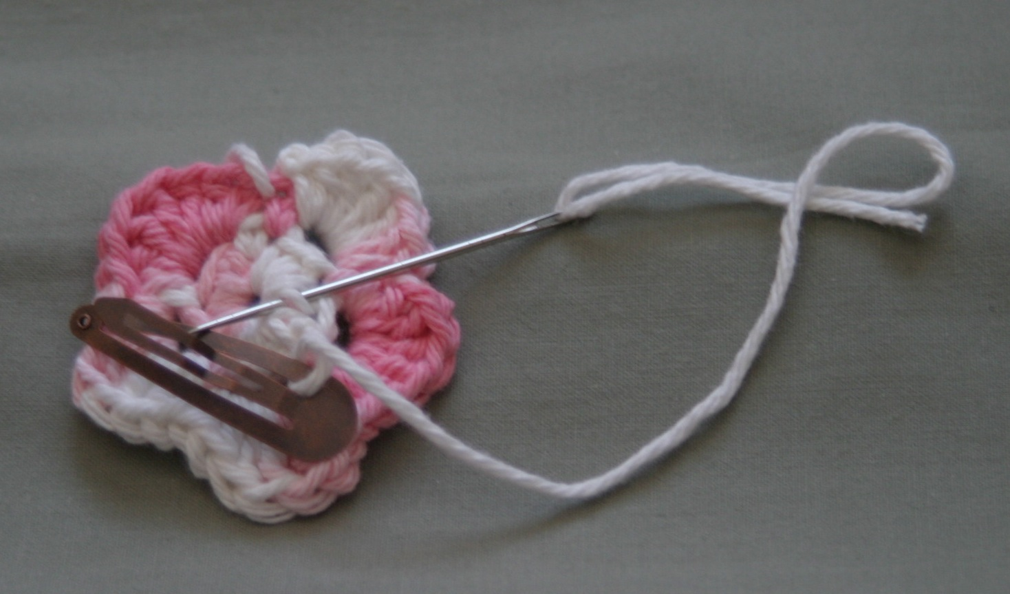Crochet Hair Clip Pattern : Once Upon A Time.....: Crochet Flower Hair Clip Tutorial