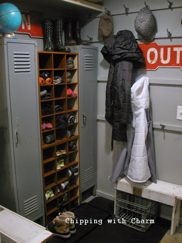 "Chipping with Charm:  Basement Entry to ""Coat Room""...www.chippingwithcharm.blogspot.com"