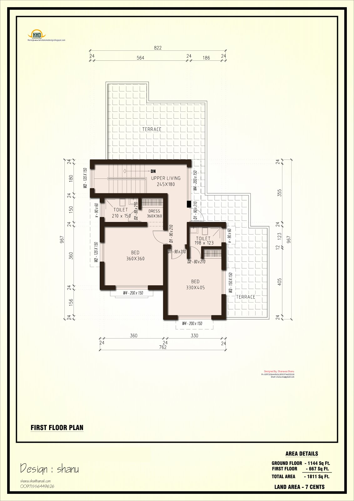 1800 modern contemporary villa house design plans for Modern house plans for 1600 sq ft