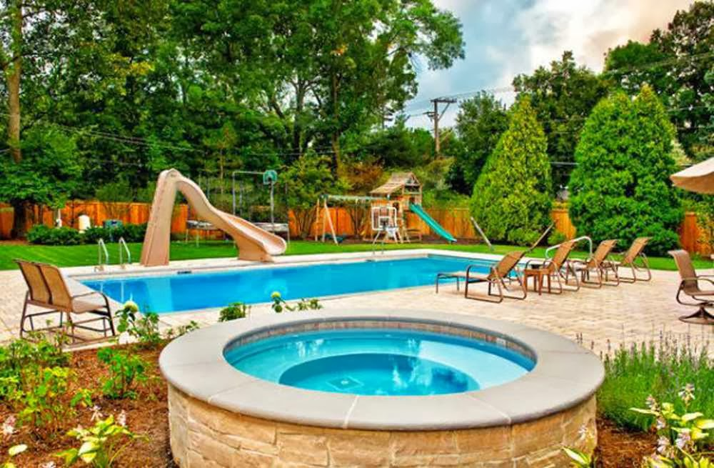 Cool backyards ideas ayanahouse for Pool design with slide