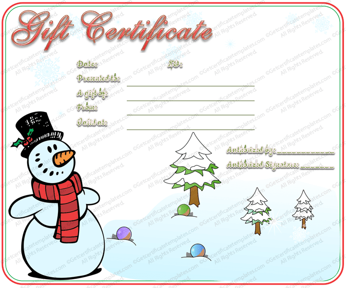 Gift certificate templates for Holiday gift certificate templates