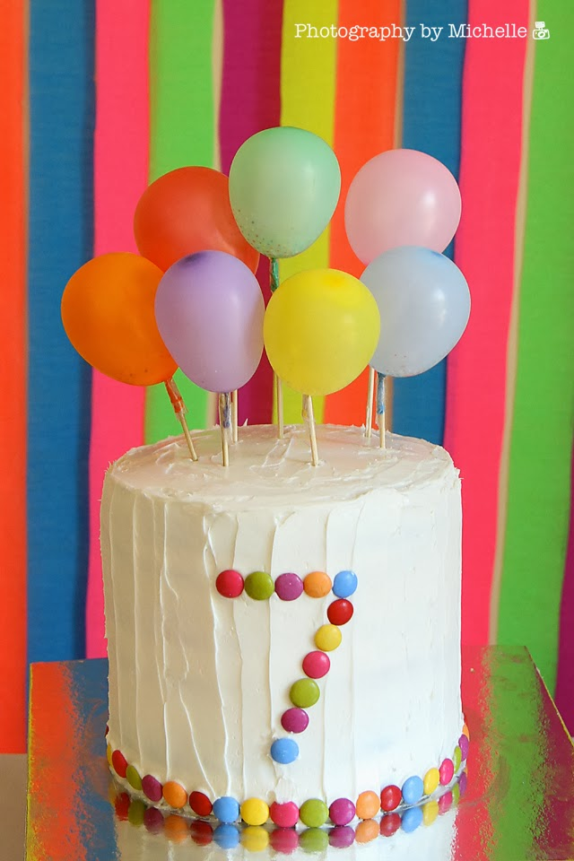 Photography by michelle charlotte 39 s 7th birthday rainbow for Balloon cake decoration