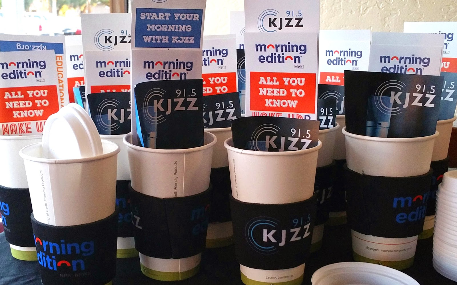 Images of KJZZ coffee cups