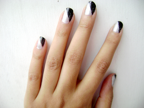 Black And Silver Color Block Nails