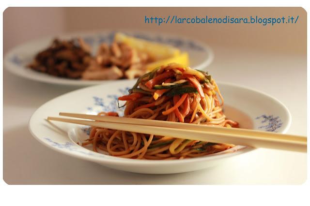 Spaghetti saltati con verdure
