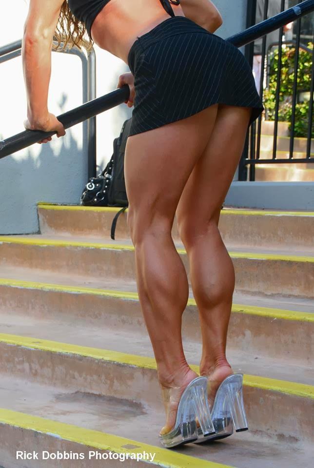 gorgeous muscular calves in high heels
