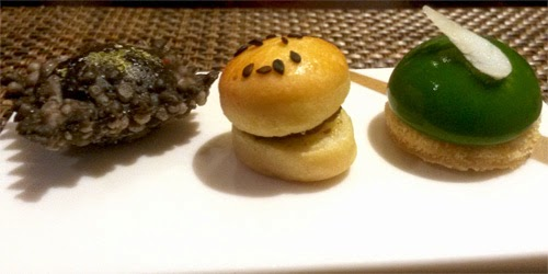 Amuse bouche of three canapes