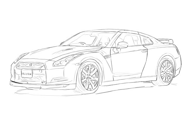 Nissan gtr red flaming ichijiku for Coloring pages nissan gtr