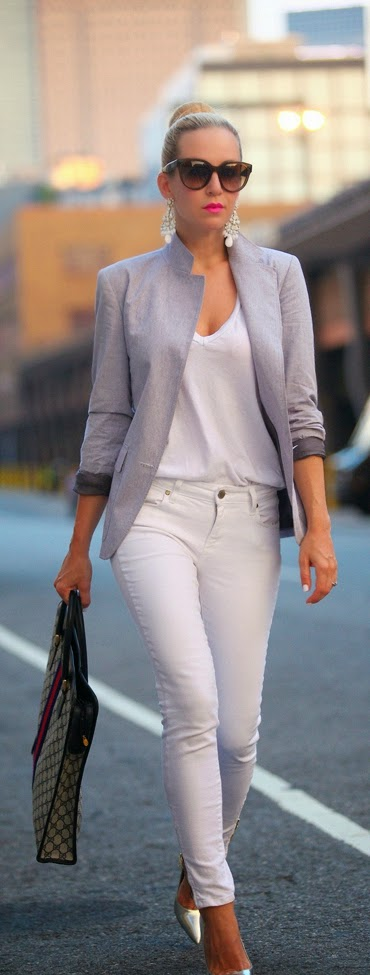 White and Grey Classic Glam Outfits | Street chic