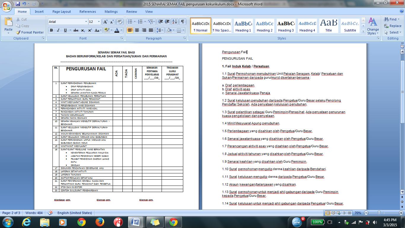 Senarai Semak Fail Pengurusan Kokurikulum 2015