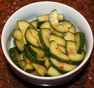 recept, recepten, salade, komkommer, Chinese komkommersalade, Chinees, Oosters, Vegetarisch