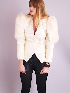 Vintage 1980's ivory colored beaded tuxedo jacket with fox fur shoulders