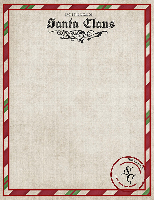 Fan image with printable santa envelopes