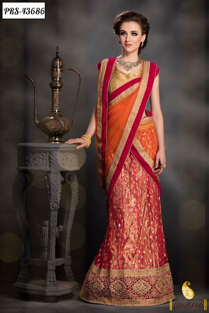 Karva Chauth special red net lehenga style sree online shopping at pavitraa.in