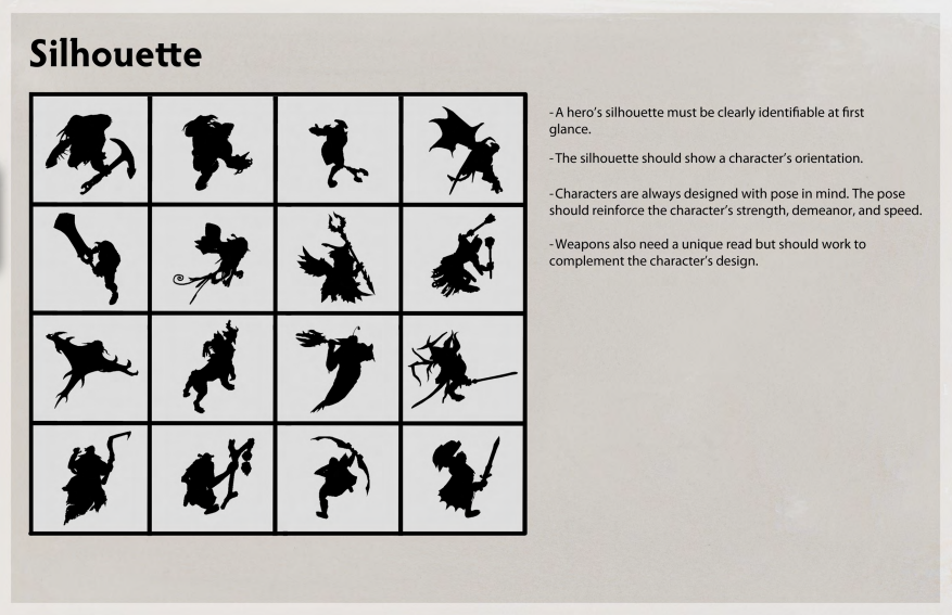 Silhouette is very important to the DOTA2 style. Not only are the  silhouettes meant to define the character body type, but the concept art  all starts with a ...