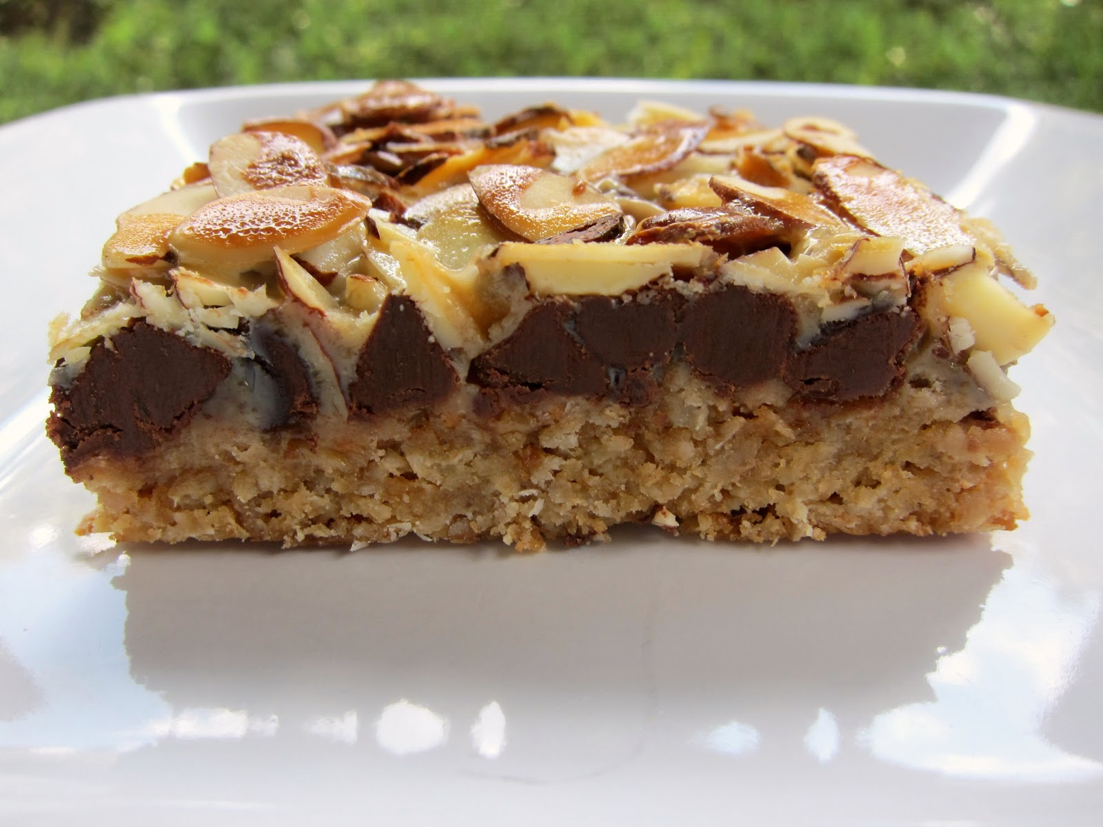 Toffee Bars - graham cracker crust topped with almond bits, chocolate ...