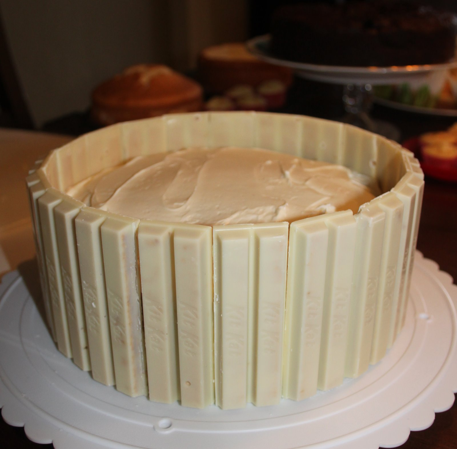 Real Life Pastor's Wife: White Chocolate Kit Kat Coconut M&M's Cake
