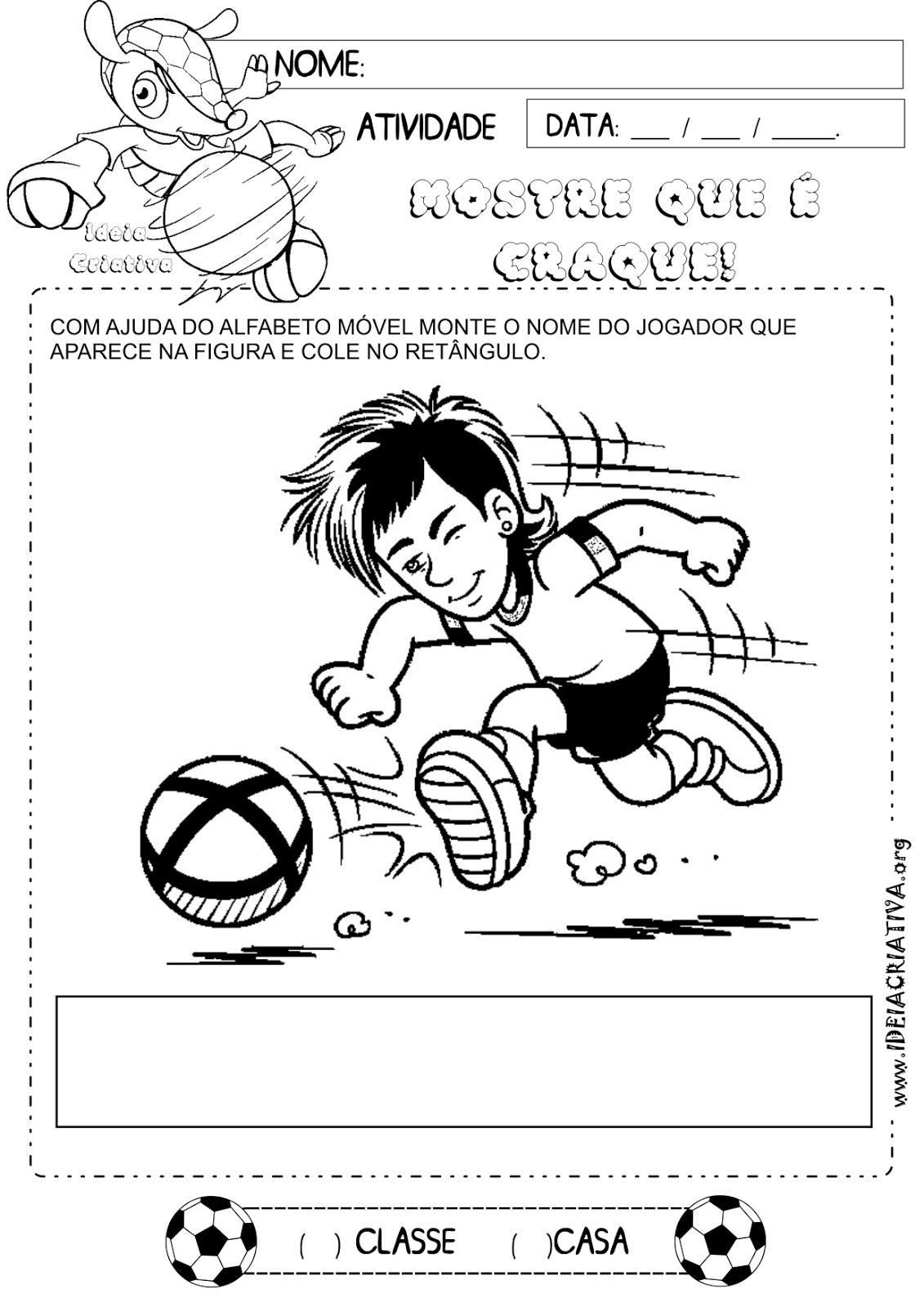 Atividade Letras do Alfabeto Copa do Mundo 2014 Educação Infantil