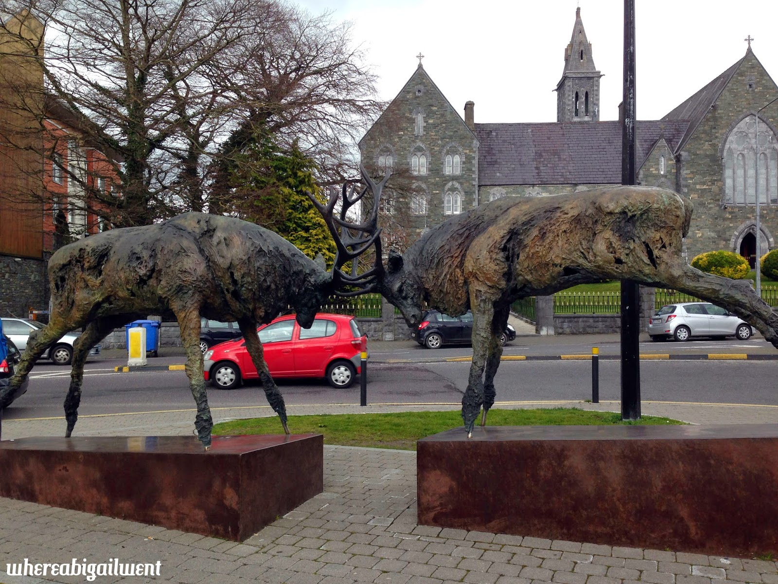 Stags fighting statue Killarney
