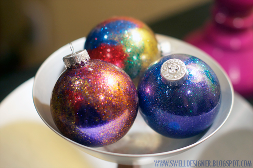Glitter galaxy ornament diy the ornaments turned out so sparkly and remind me of the galaxy bleach art ive been seeing on clothing and shoes solutioingenieria Gallery