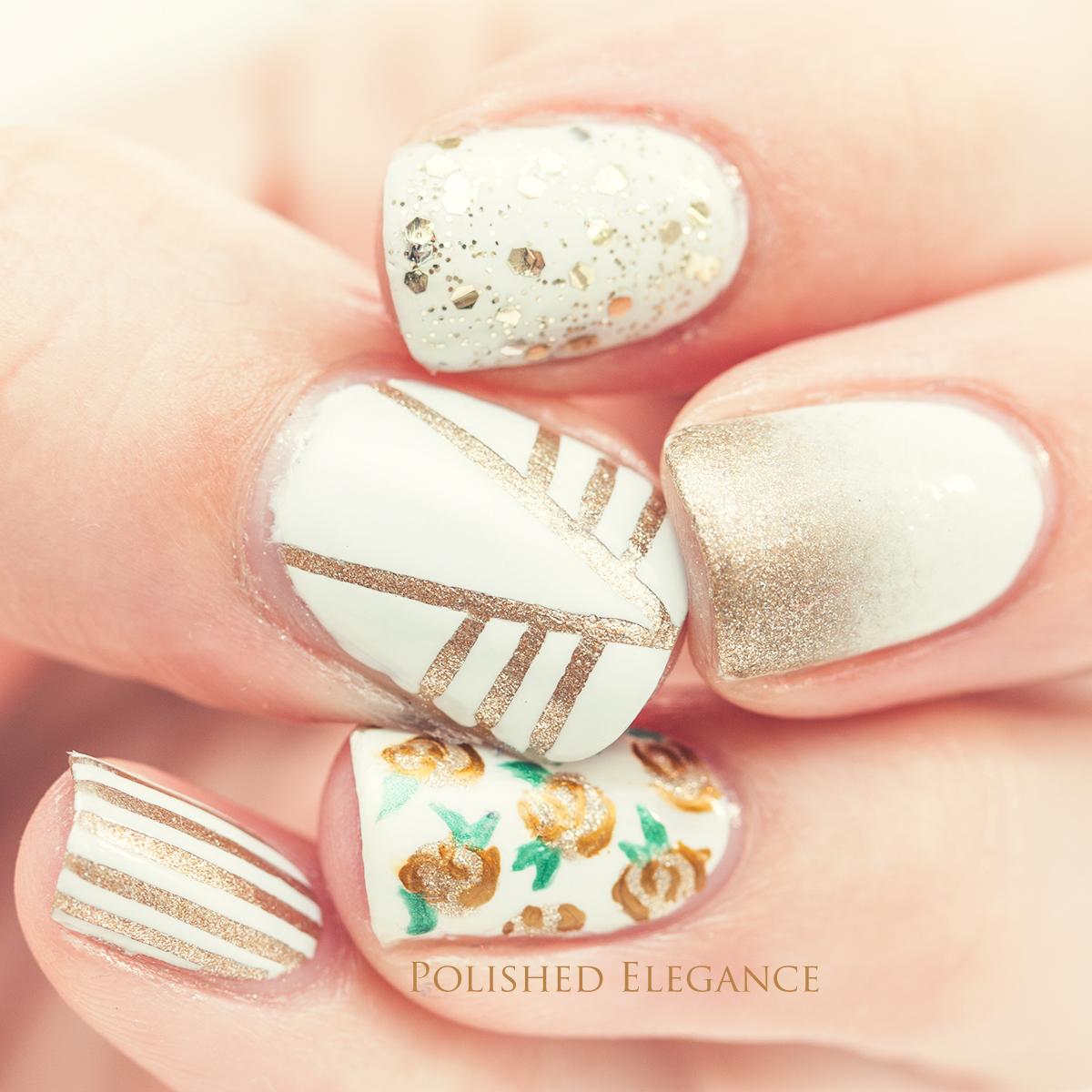 Gold rose nail art vintage rose nail art gold white nail art nail