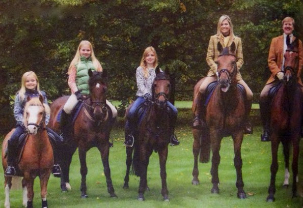 Queen Maxima Princess Ariane, King Willem Alexander, Princess Catharina Amalia and Princess Alexia of The Netherlands Dutch Royal Family's  2015 Christmas Card