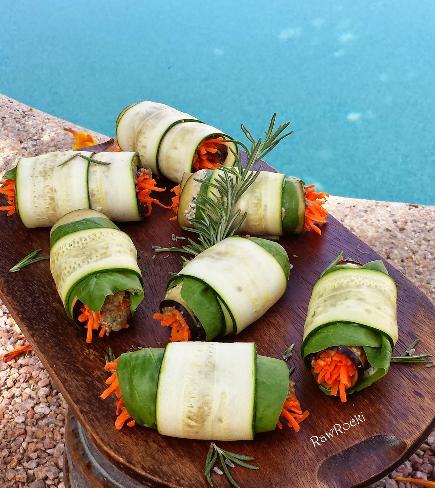 Raw vegan recipes by rocki raw eggplant spinach zucchini rolls with raw vegan meal forumfinder Images