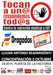 Concentración martes 3 de octubre a las 14:30 horas en la entrada de Dragados Offshore de Puerto Re
