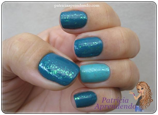 Combinação de dois esmaltes esverdeados com flocado.