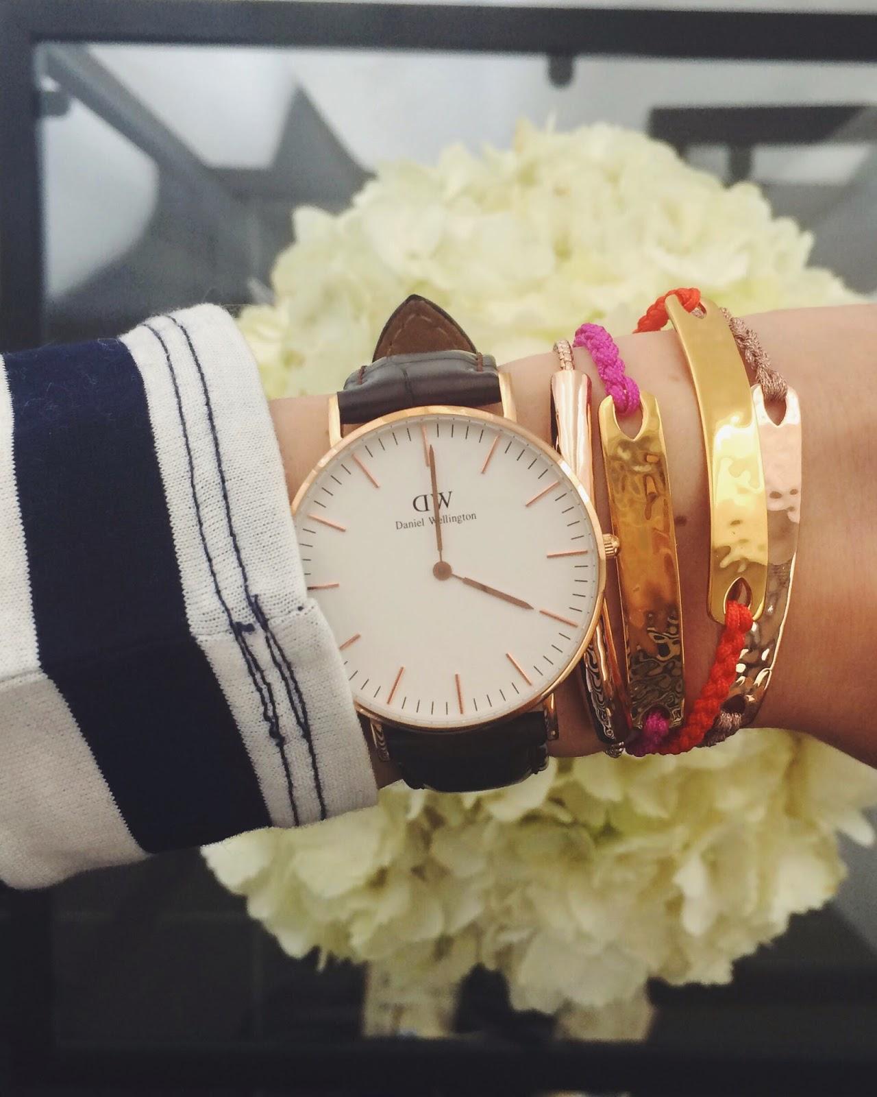 Daniel Wellington watch, monica vinader bracelet, monica vinader havana bracelet