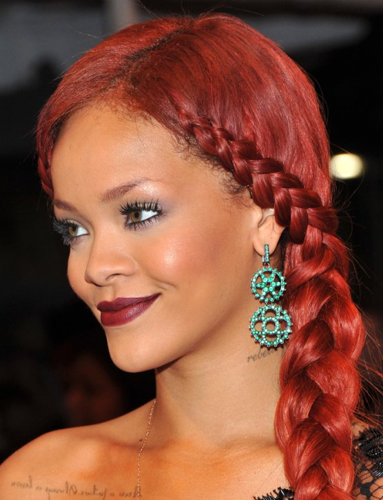 rihanna red hairstyle pictures krazy fashion rocks