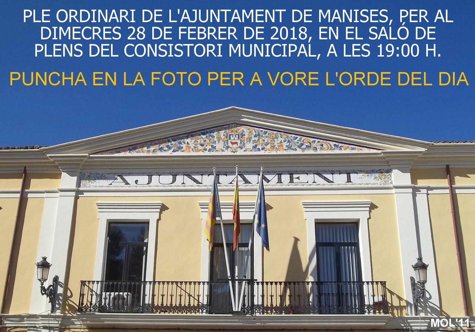 28.02.18 PLE ORDINARO DE L'AJUNTAMENT DE MANISES, DEL MES DE FEBRER DE 2018