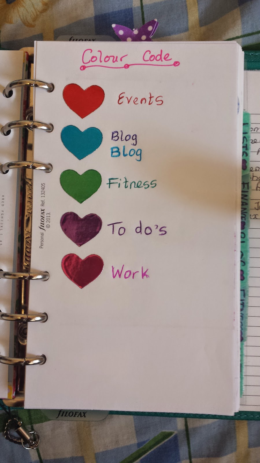 Colour coding in your filofax for Color coding planner