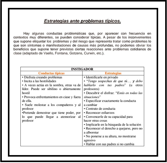 ESTRATEXIAS ANTE PROBLEMAS DE AULA