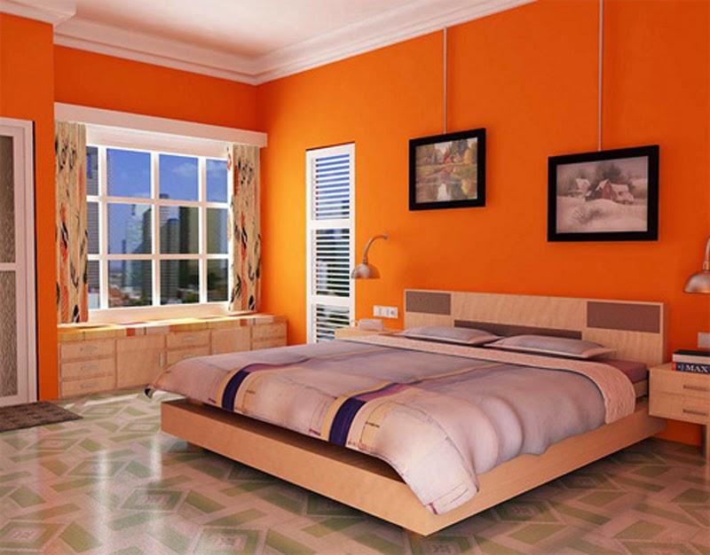 kamar tidur utama warna orange yang bagus