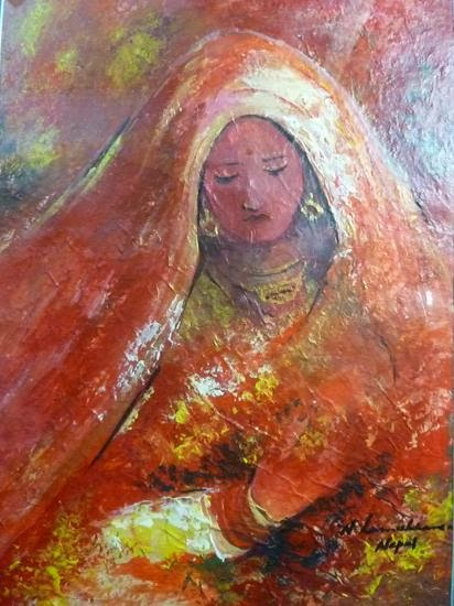 Nepali women in red sari (acrylic painting)