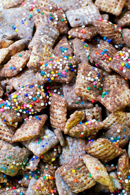 Celebration Puppy Chow - No Bake and Adaptable for Any Holiday (from buttercreamfanatic.com)