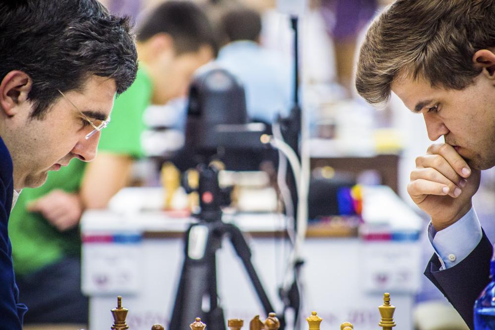 Le duel des champions du monde entre Magnus Carlsen et Vladimir Kramnik - Photo © Katerina Savina
