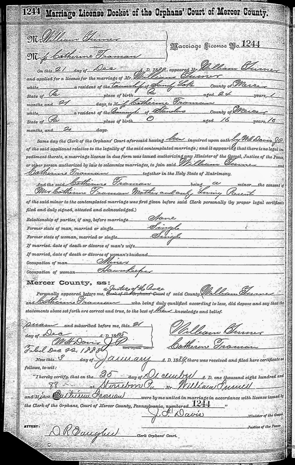 My ancestors and me june 2014 marriage catherine married william turner on december 25 1888 in stoneboro pennsylvania william claimed the age of 24 catherine 16 aiddatafo Choice Image