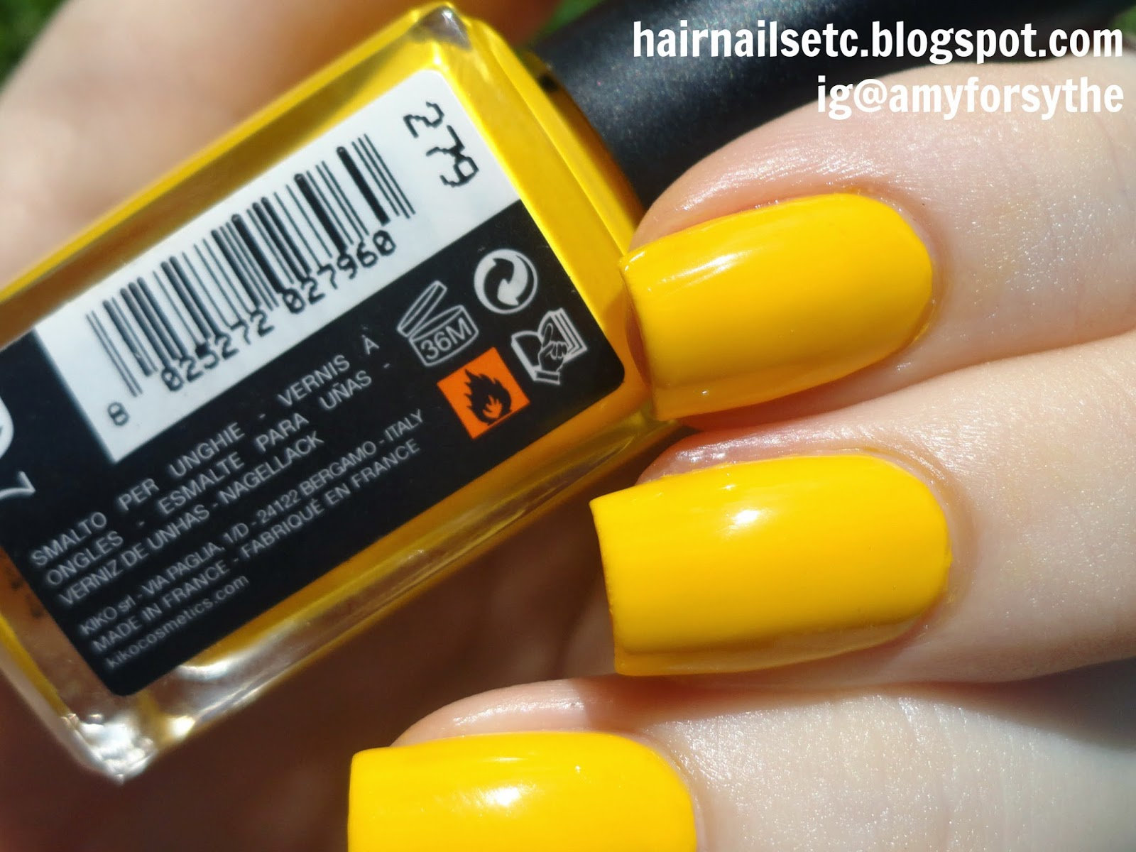 Kiko nail polish swatch review 279 yellow