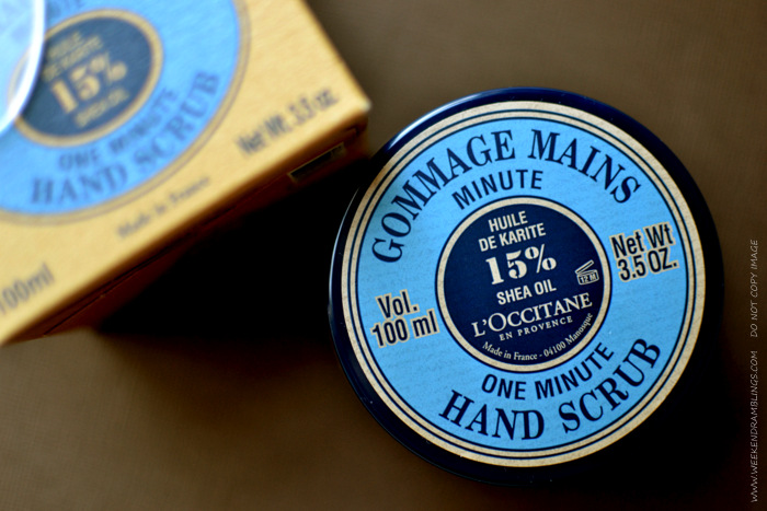 Loccitane Organic Natural Skincare Gommage Mains One Minute Hand Scrub Shea Oil Brown Sugar Blog Reviews Ingredients How to Use