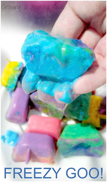 Amazing FREEZY GOO Play Recipe from Growing a Jeweled Rose- Freezy goo is icy cold and acts as both a liquid and a solid interchangeably.  (A SUPER fun way o beat the heat this Summer!)