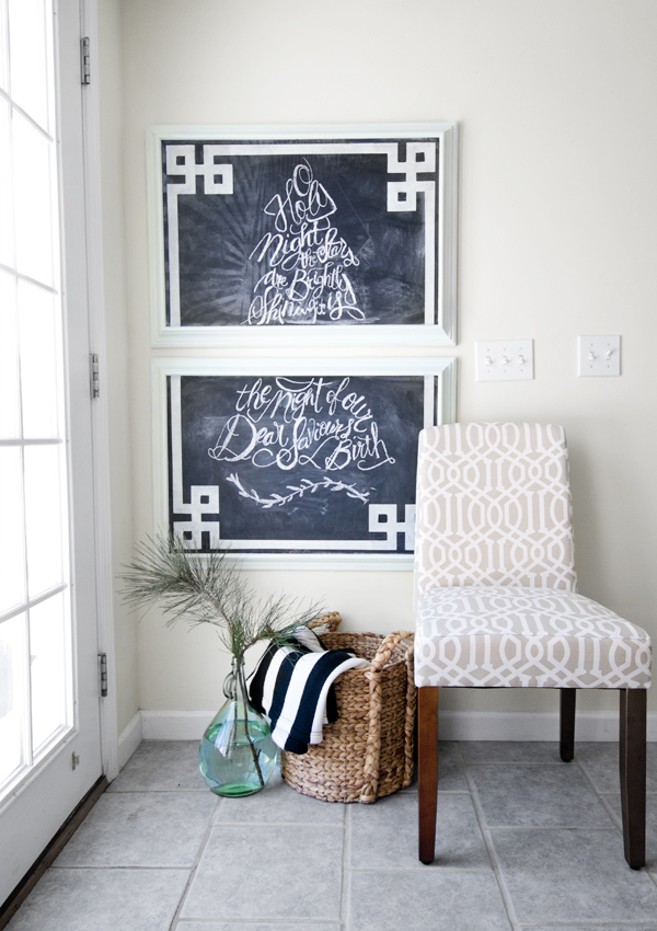 greek key stenciled chalkboard