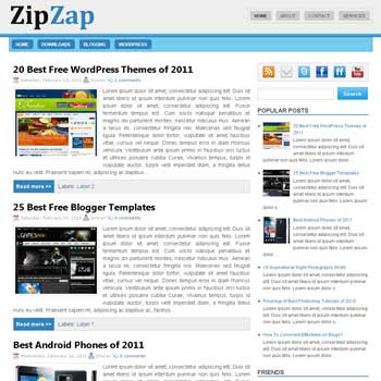 ZipZap Blogger Template. 3 column footer blogger template. 3 column blogger template