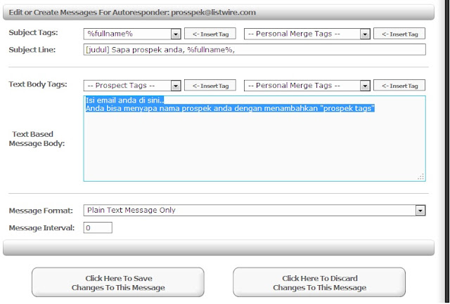 cara setting free autoresponder listwire