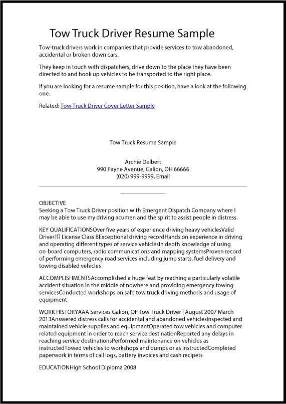 truck driver cover letter template - Roho.4senses.co