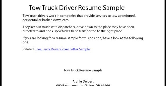 Great Sample Resume: Tow Truck Driver Resume Sample